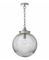 Tamara 1 Light Pendant, Satin Nickel & Ribbed Glass | LV1802.0106