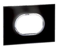 Arteor (British Standard) Plate 3 Module Round Mirror Black | LV0501.0163