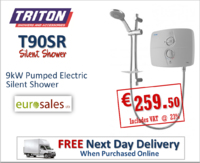 TRITON T90SR 9KW WHITE/CHROME PUMPED ELECTRIC  SILENT SHOWER