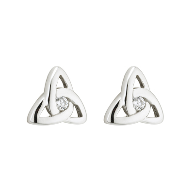 S/S CRYSTAL TRINITY KNOT STUD EARRINGS(BOXED)