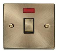 Deco Antique Brass 1G 20A DP Switch Neon