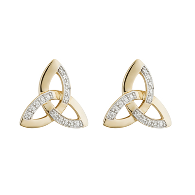 14K TWO TONE DIAMOND TRINITY KNOT STUD EARRINGS (BOXED)