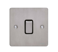 Flat Plate Stainless Steel 16AX 1G 2 Way Switch BLACK Insert | LV0701.0095