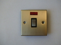 45A 1 Gang Cooker Switch with Neon Satin Chrome