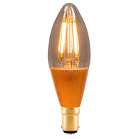 4W LED VINTAGE CANDLE  AMBER DIMMABLE LAMP 240 VOLT SBC 300 LUMEN 2000K 15000 HOUR 01452
