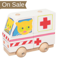 Wooden toddler stacking ambulance toy with wheels