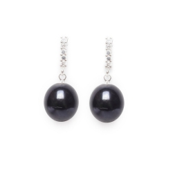 CZ Black Pearl Drop Earrings