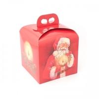 BOX GIFT/CAKE 200X200X180MM  RED/SANTA(50)