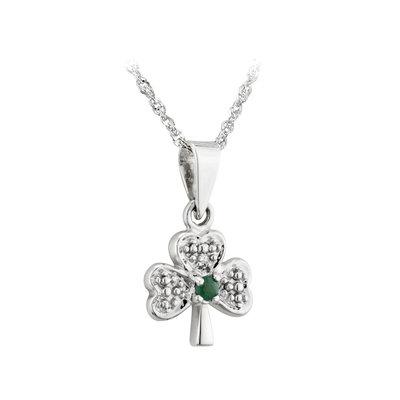 14k white gold diamond and emerald shamrock pendant s4517 from Solvar