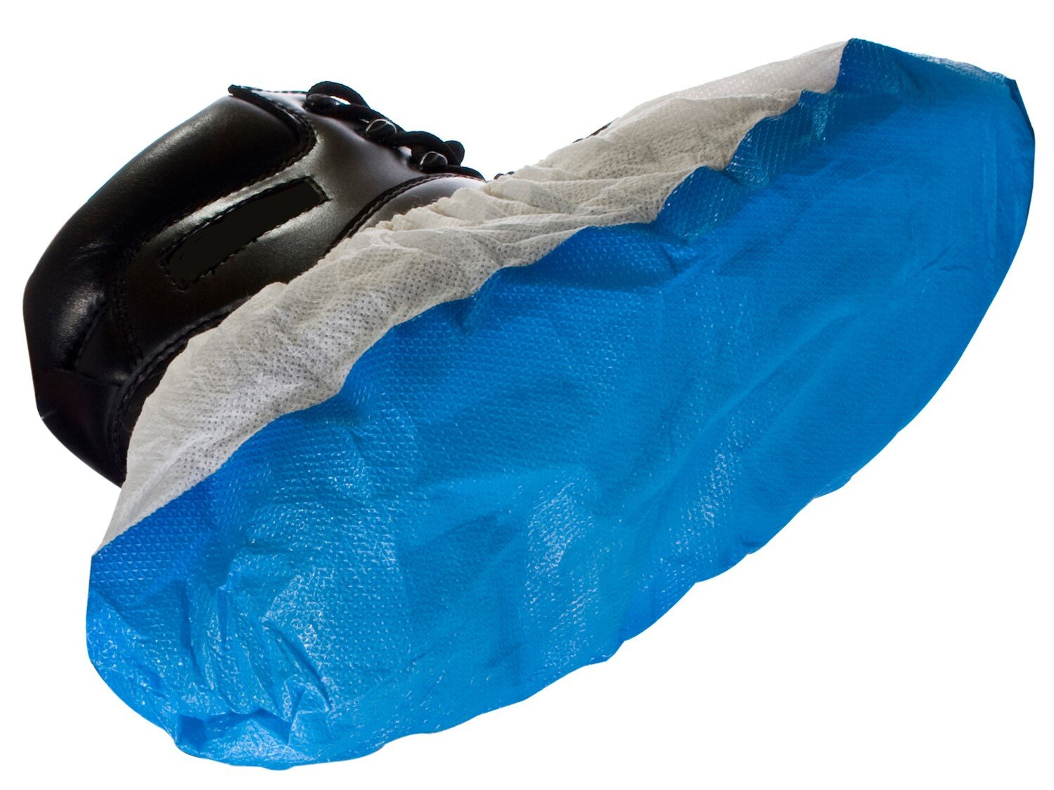Deluxe Anti-Slip Shoe Covers Blue/White (Pack of 100)