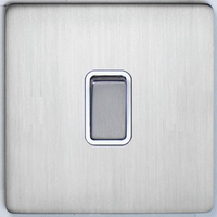 DETA Screwless Intermediate Switch Satin Chrome White | LV0201.0066