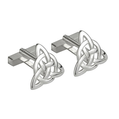 SILVER TRINITY KNOT CUFFLINKS LARGE (BOXED)