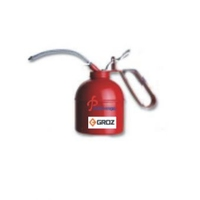 """GROZ Oil Can PT Type 700ml, Steel Pump, Red with 8"""" Flexible Spout"""