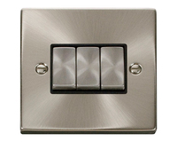 Click Litehouse DECO 3G 2way  Ingot Switch Black Insert Satin Chrome