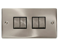 Click Litehouse DECO 4G 2Way Ingot Switch Black Insert Satin Chrome