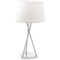 Belora Table Lamp Brushed Chrome Base + Cream Shade | LV1902.0025