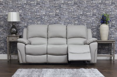 Serena Leather Sofa 3 Grey