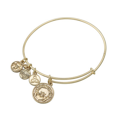 GOLD TONE CLADDAGH CHARM BANGLE