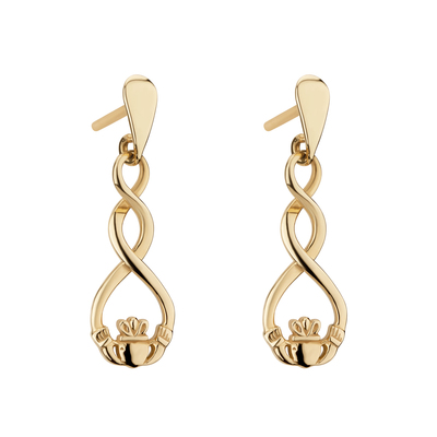 9K GOLD CELTIC CLADDAGH EARRINGS