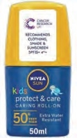 Nivea Sun Protect And Care Kids Pink Roll-On Spf50 50ml