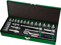 "Toptul 3/8""Dr Socket set 25Pc (metric) metal case"