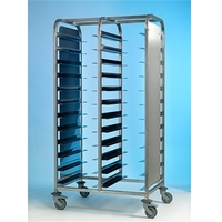 Tray Clearing Trolley Stainless Steel 2x12 with Side Panels