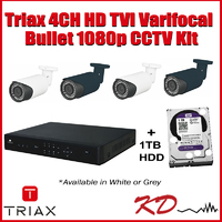 Triax 1080p 4 Varifocal Bullet CCTV Kit - Gre