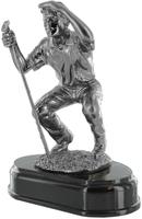 19cm Golfer Crouching (Silver Metal Finish)