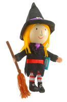 Witch Wooden Head Finger Puppet.