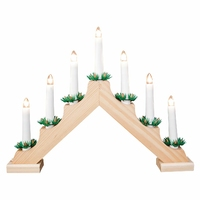KINGFISHER 7 LIGHT WOODEN CANDLE BRIDGE PINE
