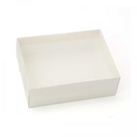 BOX GIFT/PVC LID 25X19X8CM SOFT WHITE