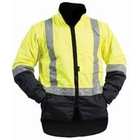 Bison Stamina Hi Vis Day/Night Fleece Lined Vest With Zip Off Sleeves
