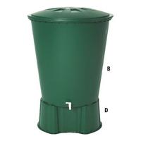 Water Butt Tank, Lid & Tap 210lt