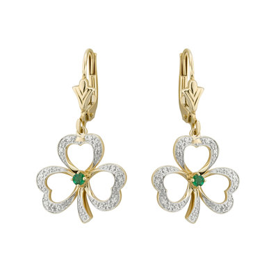 14K gold diamond and emerald shamrock drop earrings s33744 from Solvar