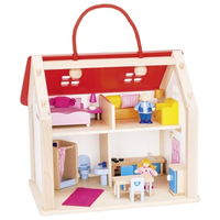 Fully-furnished wooden suitcase doll's house
