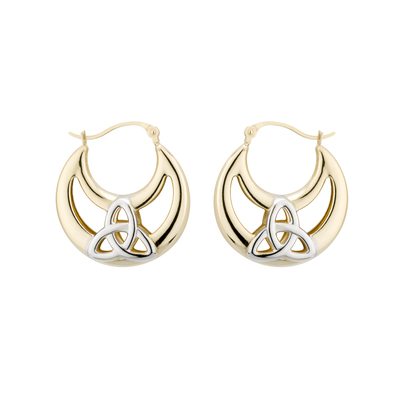 14K TWO TONE LARGE TRINITY CREOLES