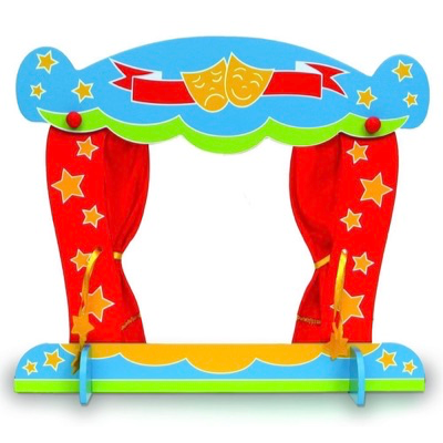 Colourful wooden finger puppet theatre with curtains open