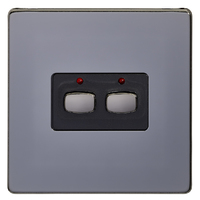 MiHome Smart Black Nickel 2 Gang Light Switch
