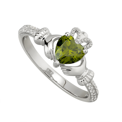 PERIDOT CLADDAGH RING (AUGUST BIRTHSTONE)