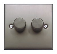 FEP Low Profile Satin Chrome 400w 2G 2W Dimmer Black Insert Chrome Switch | LV0801.0019