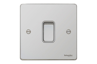 Schneider Ultimate Low Profile Intermediate switch Polished Chrome with White Insert | LV0701.0041