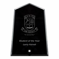 20cm Black Glass Plaque (Plain Box)