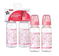 Tommee Tippee Twin Pack Decorated Bottle 250ml 0Months