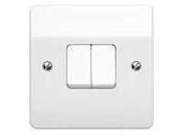 MK 2 Gang 2 Way Plate Light Switch