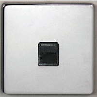 DETA Screwless 'RJ11 data plate Satin Chrome Black Insert | LV0201.0158