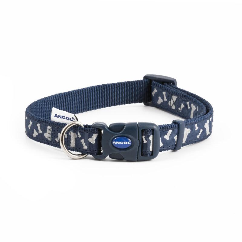 Ancol Paw and Bone Adjustable Reflective Blue Dog Collar 25 - 50cm