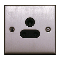 FEP Low Profile Satin Chrome 5A 1G Unswitched Socket Black Insert Chrome Switch | LV0801.0017