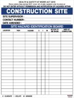 Construction Site Hazard Board ACM 600x800mm
