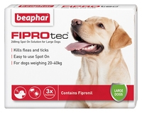 Beaphar FIPROtec Large Dog Flea Drops - 3 Tube x 1