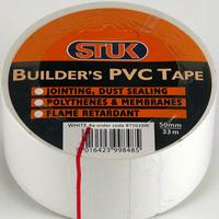 STUK 50 MM X 33 MTR WHITE BUILDERS PVC TAPE